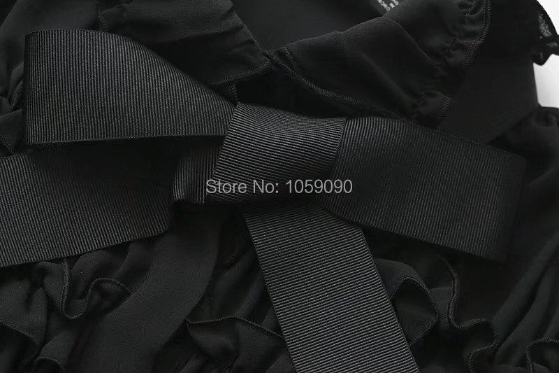 Femme Wishbop Volants Poignets Chemisier Revers Manches Longues Col 2018 Noir À Mini Haut Volant Arc Recueillies Versions Avec Printemps 4rEqSE
