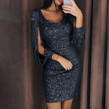 Womens Plus Size Sexy Glitter Sequins Stitching Tassel Long Sleeve Bodycon Mini Dress Deep V-Neck Solid Color Evening Party