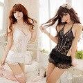 Preto e branco halter rendas lingerie sexy sleepwear lingerie direto pacote tentações 1093