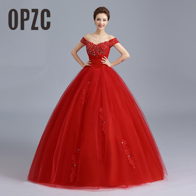 RED Baot Neck Wedding Dress 2019 New Lace Bridal Dresses Korean Style Plus Size Vestido De