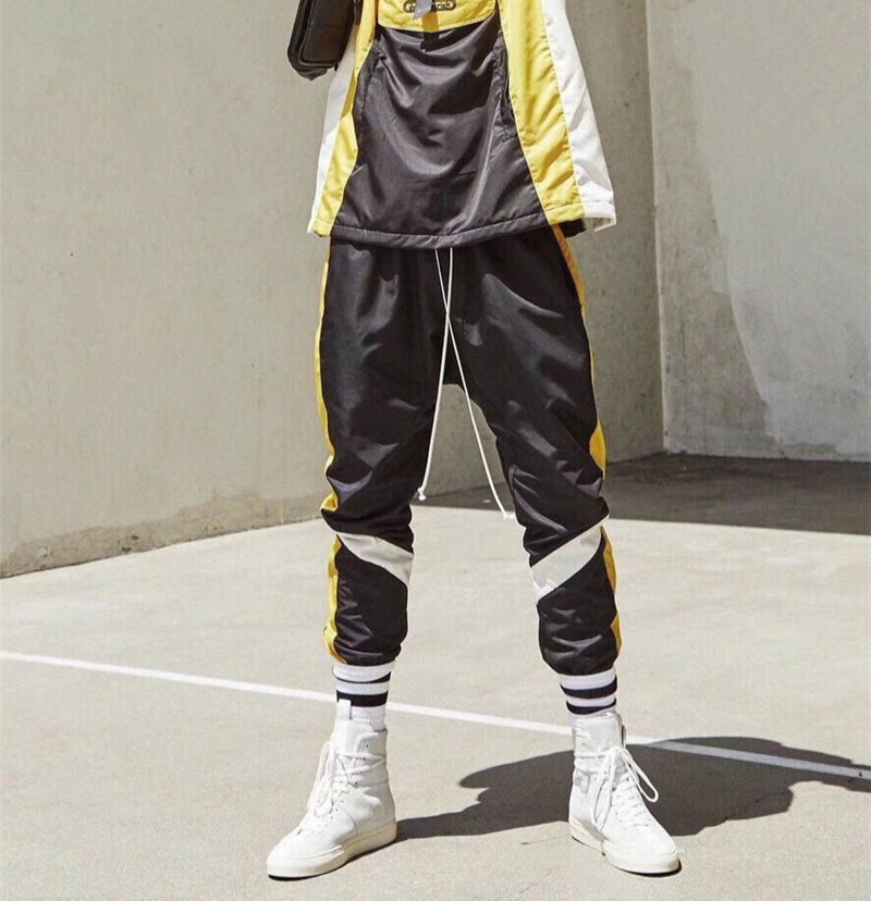 High Quality Justin Bieber Angled Stripe Sweatpants Mesh Lined Ankle-Zipper Designer Track Pants Free Shipping