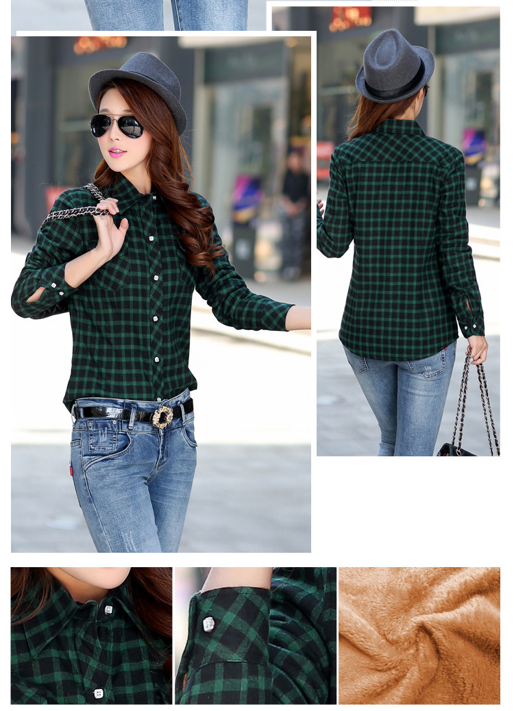 19 Brand New Winter Warm Women Velvet Thicker Jacket Plaid Shirt Style Coat Female College Style Casual Jacket Outerwear 17