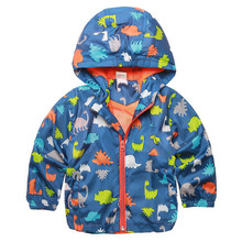 2017 Baby Cute Dinosaur Spring Kids Jacket Boy Outerwear Coats Active Boy Windbreaker Cartoon Sport Suit For Children Girl CY187