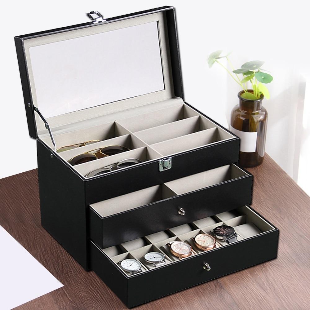 Трехуровневый Портативный очки часы коробка для хранения изделия из кожи хранения Коробки