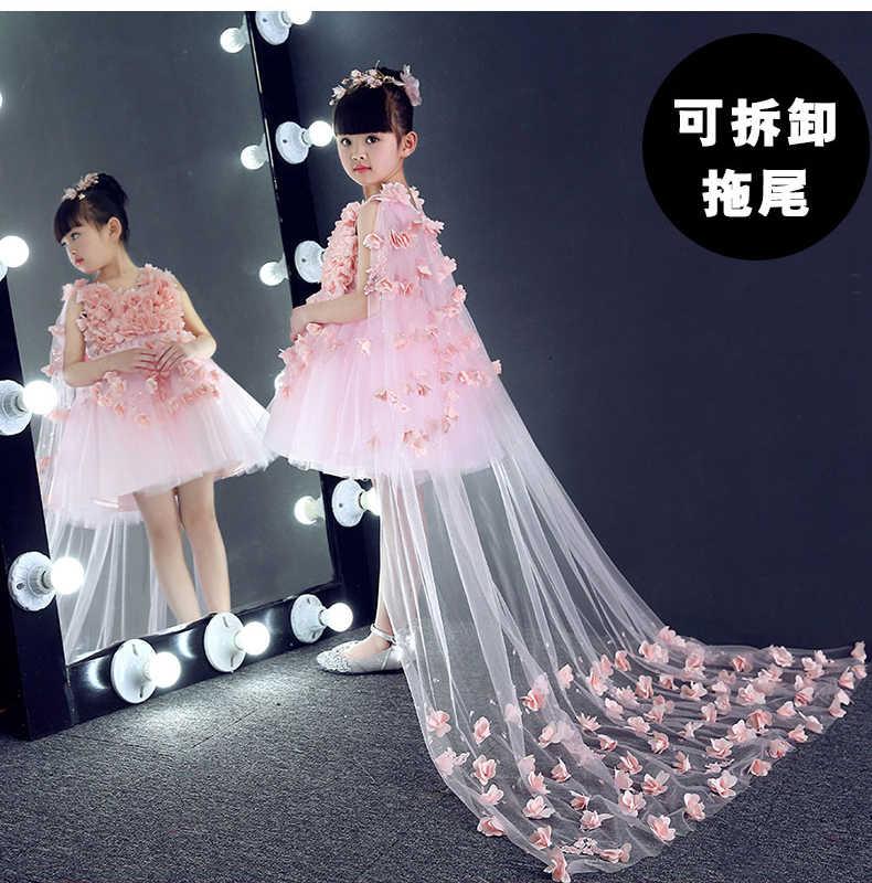 Glizt uzun Firar Çiçek Kız Elbise Kızlar Aplikler doğum günü düğün parti Prenses Elbiseler Pembe Tül Ilk Cemaat Kıyafeti