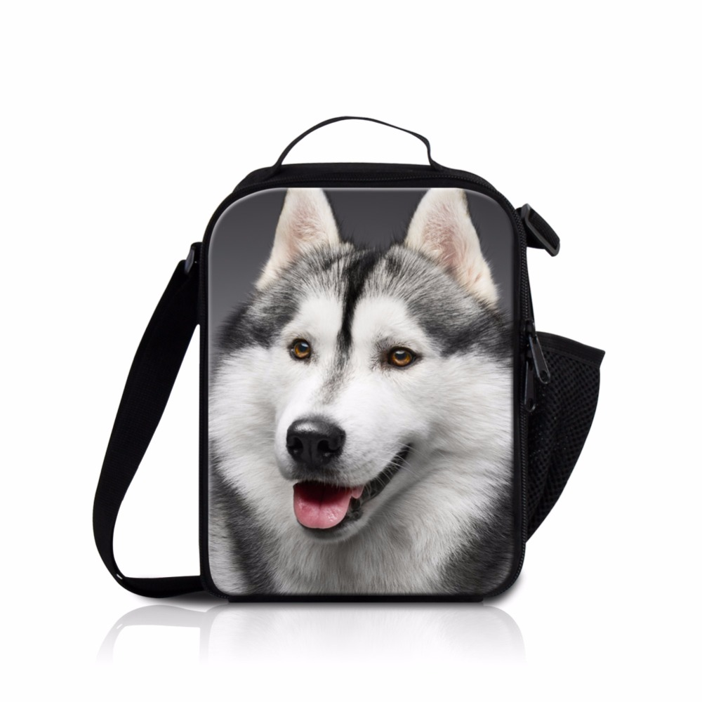 Dispalang Husky Dog Lunch Bag Lunch Box for Boys Children Insulated Cooler Bag Cute Bag for Lunch Crossbody Meal Bag Kids School