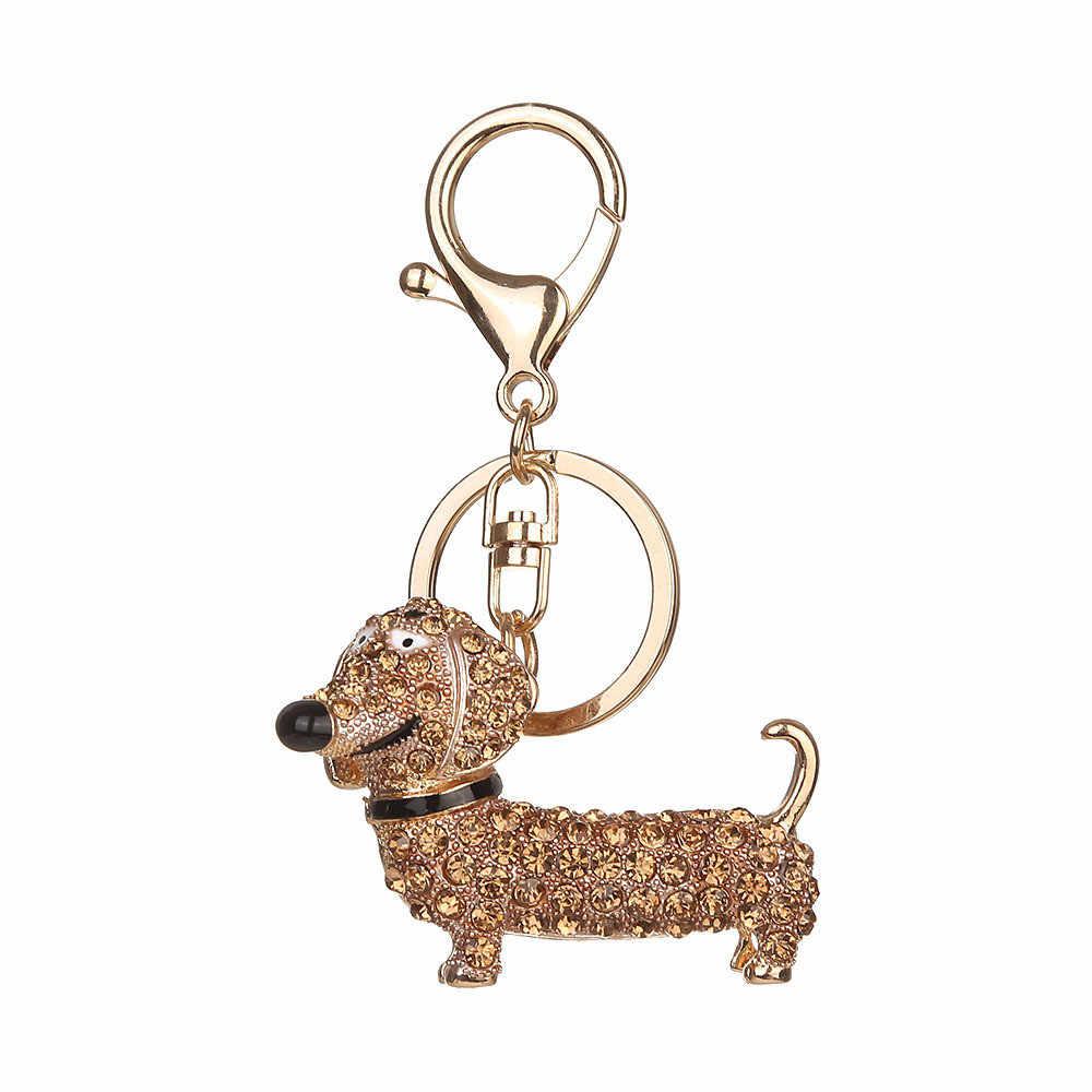... Women Key Chains For Handbags New Crystal Dog Dachshund Keychain Purse  Pendant Car Holder Key Ring 30ef26396f