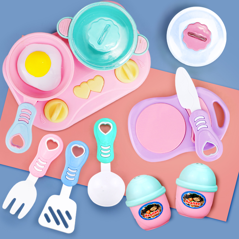 11PCS Simulation Kitchen Toys Set DIY Cooking Cookware Tableware Pink Pretend Play Cutting Toy Education Toy For Kids Girl Gift