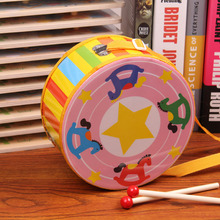 Children Musical Instrument Baby Hand double-sided Drum Kids Music Sound Toy Cartoon Primt Educational Toys Baby Wooden Drum