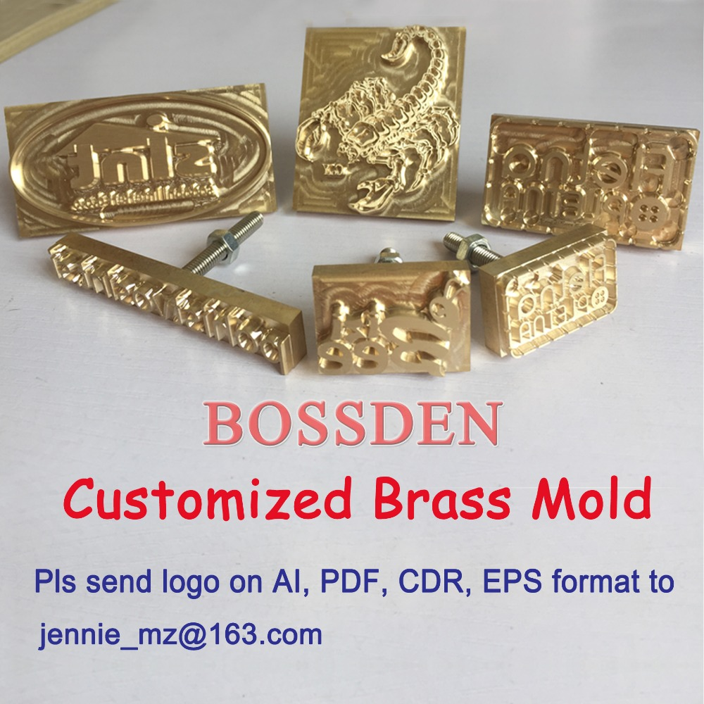 BOSSDEN DIY Brass Logo Copper Embossed Mold Hot Foil Stamping Mold Leather Wood PU Cake Soldering Iron Heating Press Brand Mold