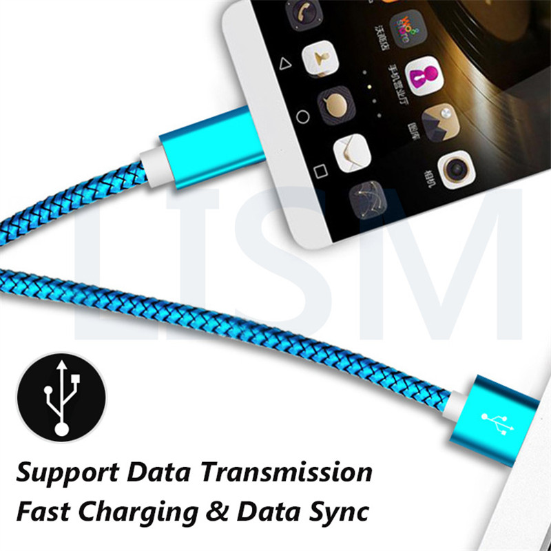 0 5m 50cm 1m 2m 3m Type C Charge Cable Charger Micro USB C Type C Nylon Cabel for iPhone Xiaomi Mi6 Samsung Galaxy S8 S9 Plus in Mobile Phone Chargers from Cellphones Telecommunications