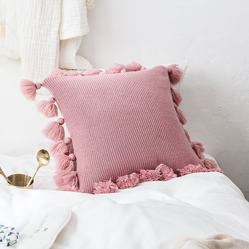 Enipate New Knit Pure Color Cushion Cover Pillow Acrylic Ball Tassel Sofa Bed Room Textile Adult Child Lover Beauty Home Dector tassels pillow