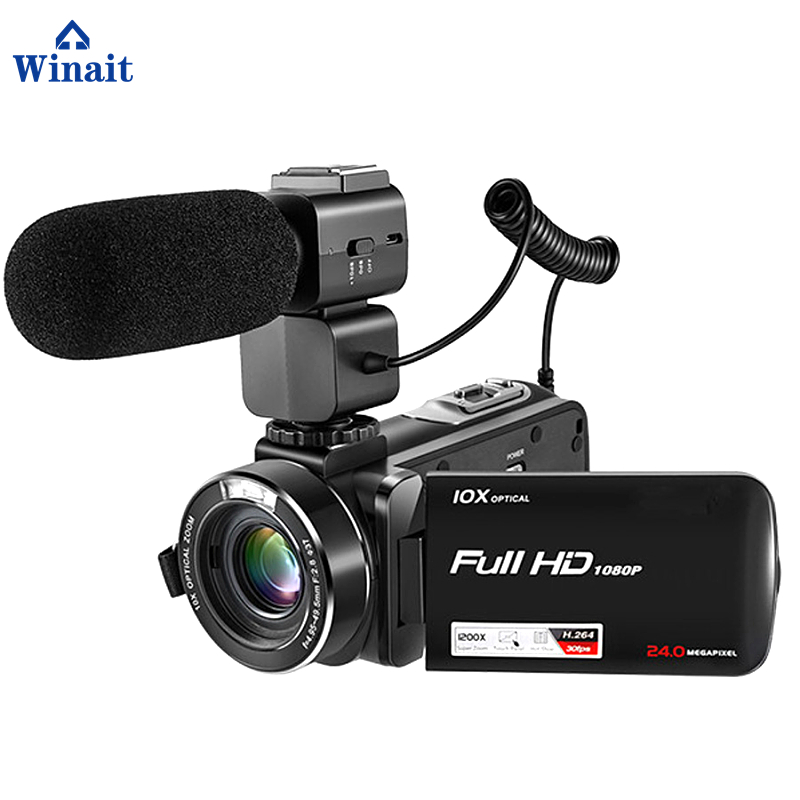 Winait full hd 1080p digital video camera  with 3.0'' touch dsiplay 10x optical zoom 120x digital zoom digital camcorder