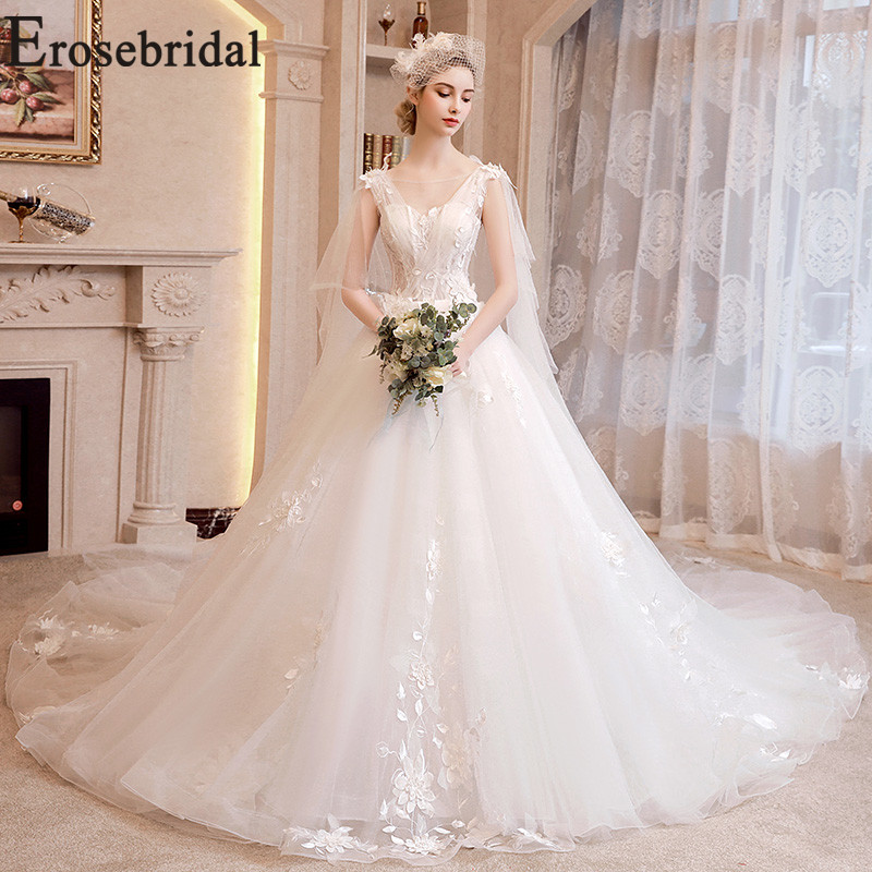 Erosebridal Tulle Wedding Dress Backless Wedding Gown Lace up Gowns Women Marriage Bride Dress White Lace Long Wedding Dress
