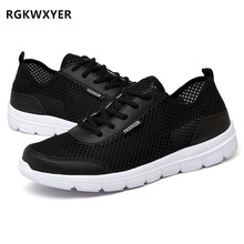RGKWXYER New Men Shoes Summer Sneakers Breathable Couple Casual Fashion Lace Up Mens Mesh Flats Shoe Big Plus Size 35-48