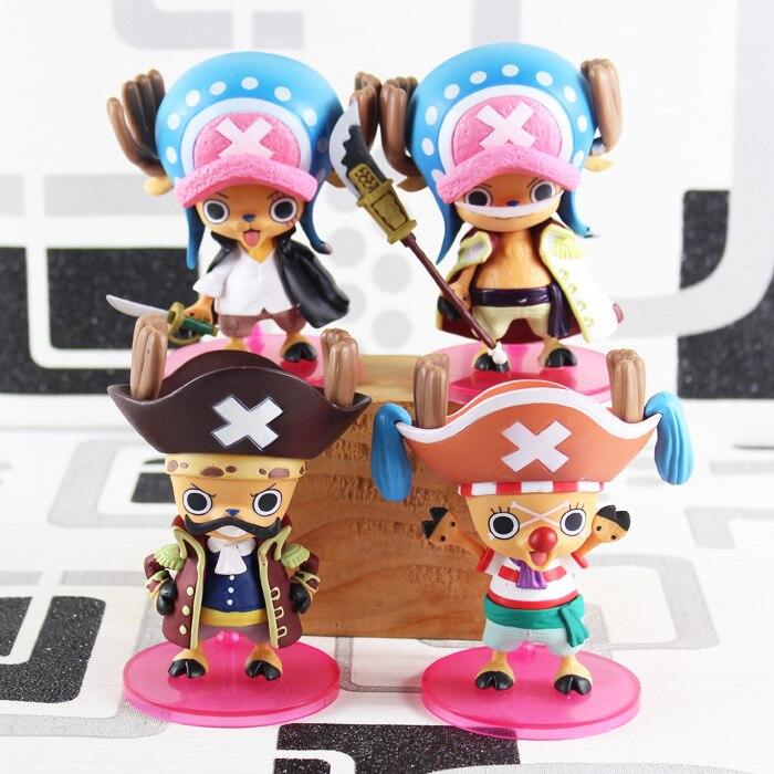 Free Shipping Anime One Piece Tony Tony Chopper Cos Shanks Edward Roger Buggy Action Figures Toys set of 4 KB0578