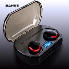 BANDE TWS หูฟังไร้สายบลูทูธ 3D สเตอริโอหูฟังพร้อมกล่องชาร์จ Mic สำหรับสมาร์ทโฟน