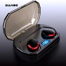 BANDE TWS سماعة بلوتوث لاسلكية ثلاثية الأبعاد سماعات أذن استريو مع صندوق شحن هيئة التصنيع العسكري للهواتف الذكية