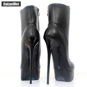 Image 5 - Jialuowei 2018 Nieuwe Komen Vrouwen Extreme Hoge Hak Platform Stiletto Lace Up Rits Sexy Lakleer Enkellaarsjes Unisex schoenen