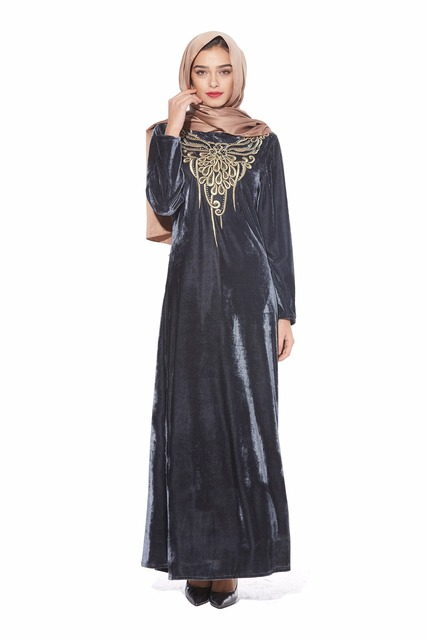 77ef764453d Muslim women long sleeves velvet embroidery Dubai Dress maxi abaya jalabiya islamic  women clothing robe kaftan Moroccan BM129