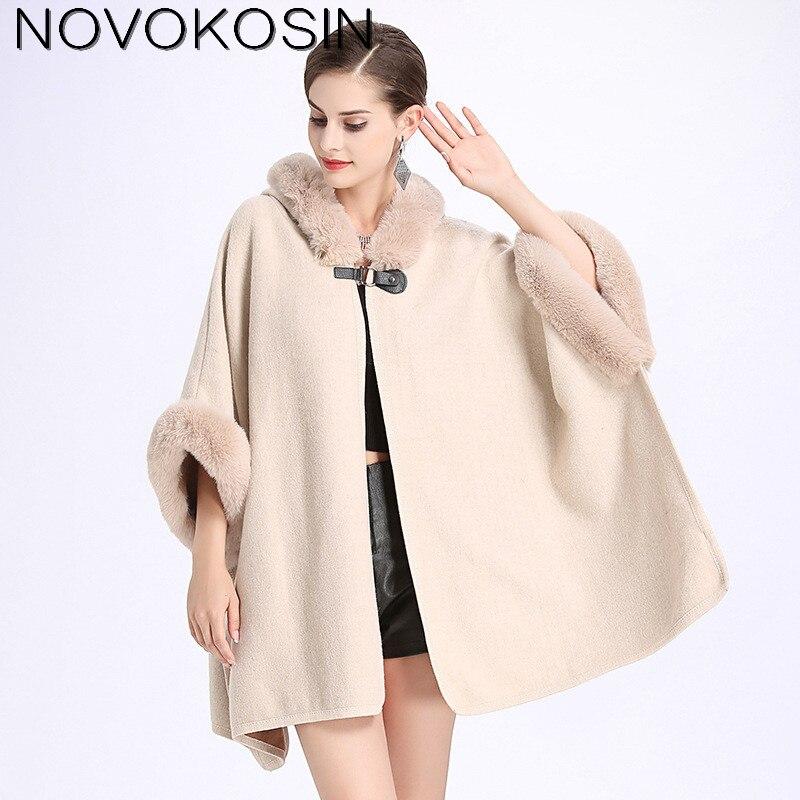 SC127 2018 Winter Warm Plus Size Fashion Two Used Poncho Faux Cashmere Shawl Women Imitation Rabbit Fur Cardigan Coat With Hat