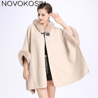 SC127 2018 Winter Warm Plus Size Fashion Two Used Poncho Faux Cashmere Shawl Women Imitation Rabbit Fur Cardigan Coat With Hat