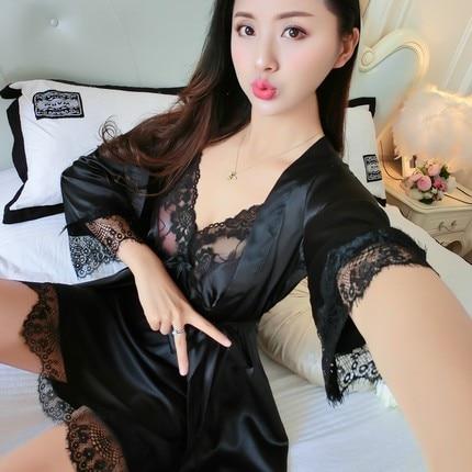 2018 Hot New Women's Plus Size Sleepwear 2Pcs Outwear+Sleep Dress Girls Summer Sexy Lace Nightgowns Sleepshirts Print Nightgown 3
