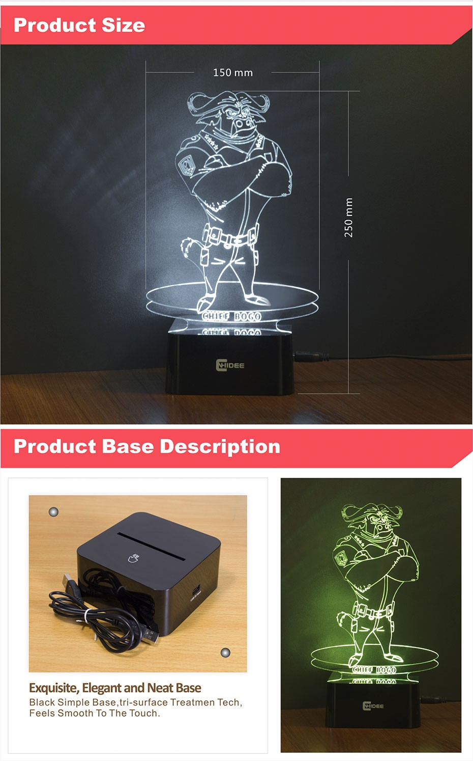 USB Novelty for Zootopia Chief Bogo Baby 3D Night Light Bedroom Decor Besides Desk Table LED Lamp 7 Clors Changeable (4)