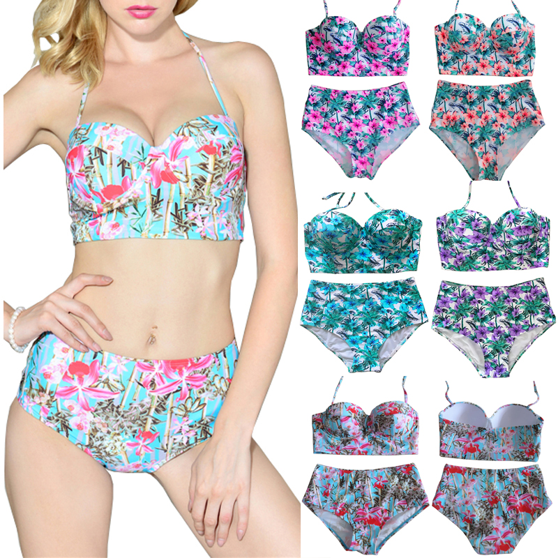 High Waist Swimsuit Bikini Women 2018 Push Up Swimwear Female Sexy Bikini set Beach Wear Vintage Bathing Suit Retro Floral Print 2017 new cross straps bikini sexy high waist swimwear women print floral swimsuit bottoms beach bathing suit women bikini set