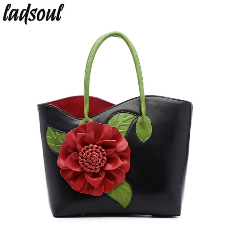 LADSOUL Popular Floral Women Handbags Big Flower Luxury Female Shoulder Bag Good Quality Elegant Women Bag Tote Bag Bolsa A753/g