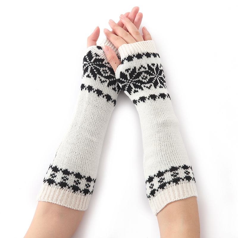 Fashion Snowflake Shape Women Knitted Arm Warmers Spring Autumn Winter Cotton Knit Long Sleeves Gloves For Woman Girls