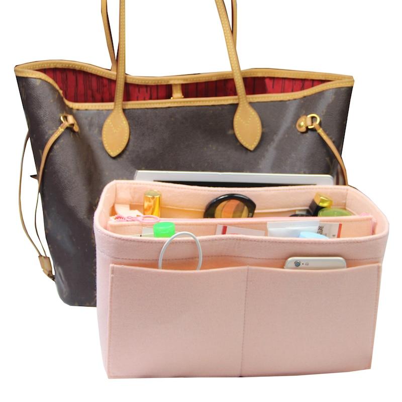Exclusive Customizable Felt Handbag Organizer Bag In Bag Tote Organizer (w/Detachable Zip Pocket) Neverfull Speedy Insert Diaper
