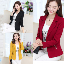 2017 Free Shipping New Spring Women Work Wear Suit Coat Small Female Fashion Slim Long Sleeved Candy Color White Red Blue Black