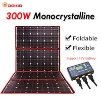 Dokio 300W 12V Flexible Solar Panel Outdoor Foldable Solar panel For Camping/Boat/RV/Travel/Car Solar panel kits For Home