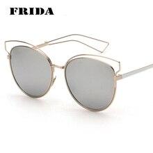 FRIDA 2016 Newest Fashion Women Cat eye Sunglasses Famous Brand Designer Hollow Out Metal Frame Summer Style Oculos de sol UV400