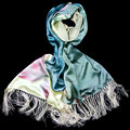 100% Silk Scarf Women Scarf Lotus and Bird Pashmina Long Silk Shawl 2017 Designer Scarf Print Female Shawl Hot Luxury Women Gift
