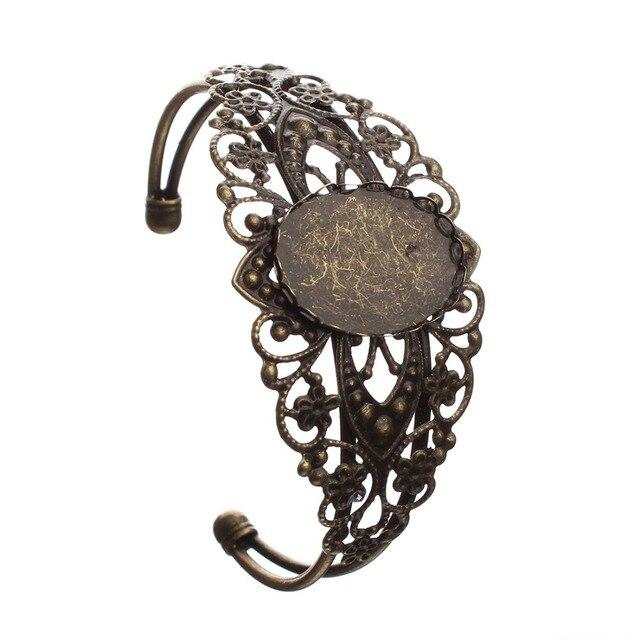 1pcs Antique Bronze Color Jewelry Metal Filigree Cuff Bracelet Blanks Fits 18x25mm Oval Gl Cabochon Settings