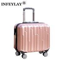 GORĄCA 18 cali dziewczyna chłopak ABS cięgła box studentów Pokład Podróży bagażu toczenia walizka trolley case dziecko kobiety biznesu box