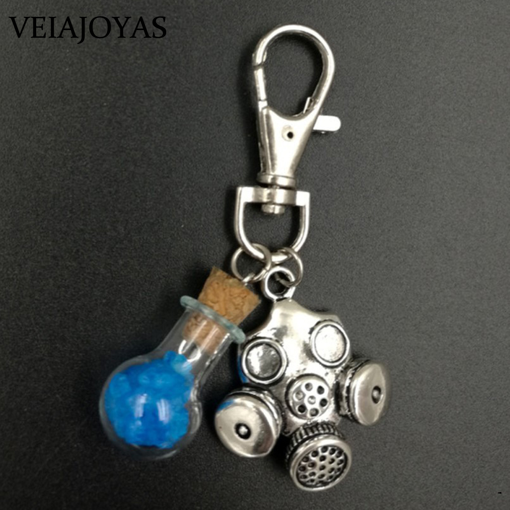 TV Series Jewelry Breaking Bad Key Chains Heisenberg Walter White Cork Bottle Charms Keychain Gas Mask Pendant Necklace Chaveiro image