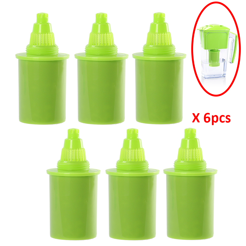 Pack 6pcs Lot Green Replacement Filter Cartridge Elements for Portable 2 5L Slim Alkaline Water Filter