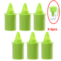 Pack 6pcs/Lot Green Replacement Filter Cartridge Elements for Portable 2.5L Slim Alkaline Water Filter Pitcher green color