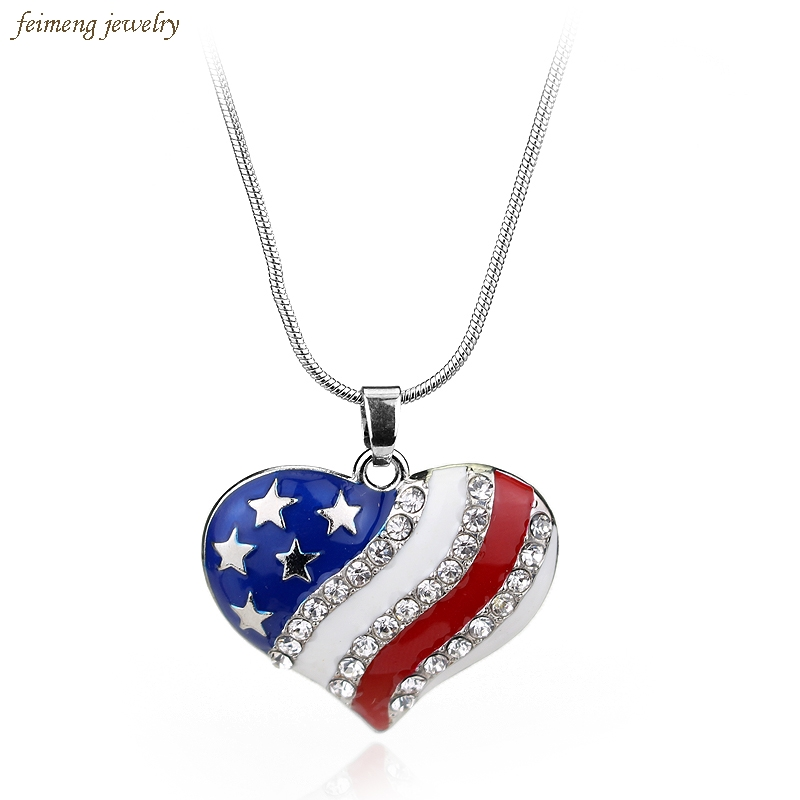 USA Labor Day American Flag Enamel Blue   Red Crystal Rhinestone Heart  Patriotic 4th of July Independence Day Pendant Necklaces-in Pendant  Necklaces from ... 37f2e6e03fea