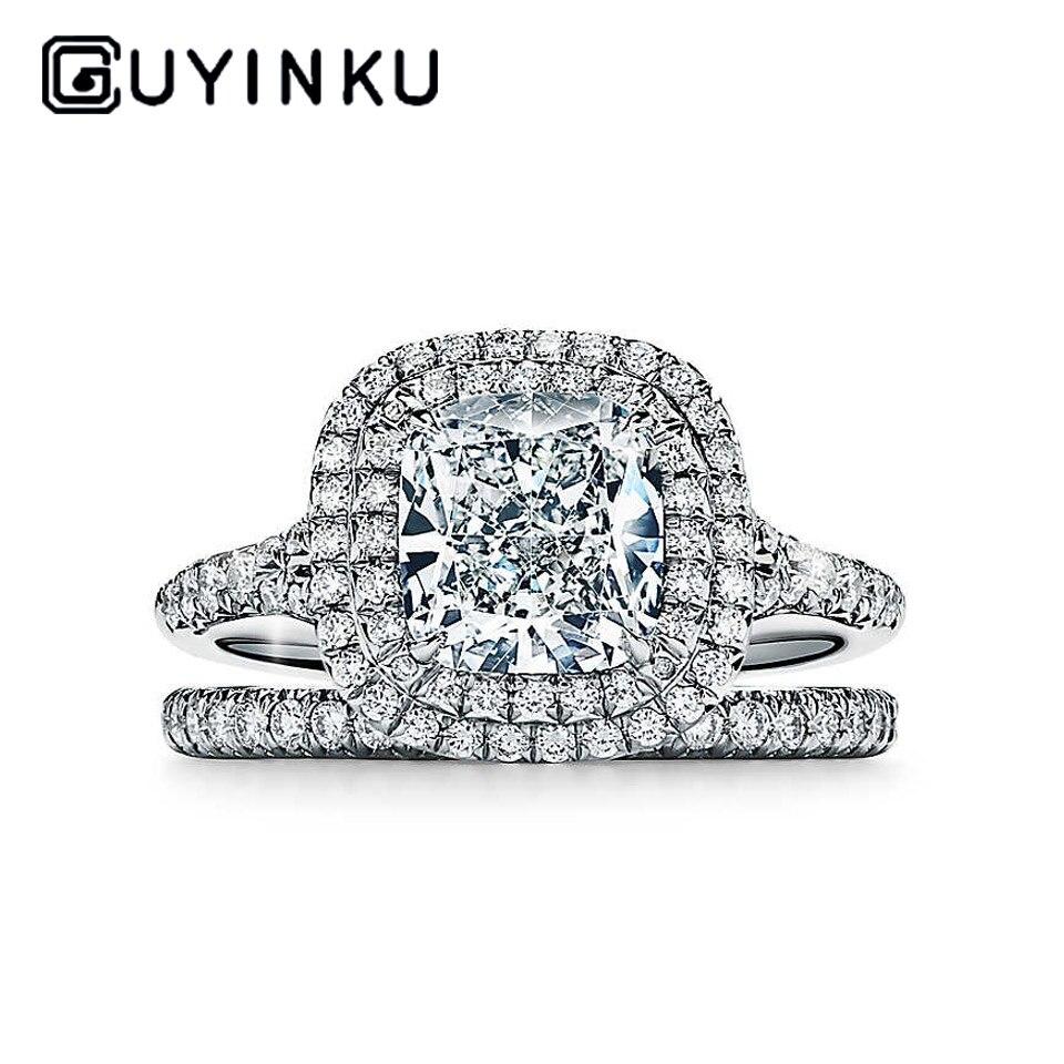 GUYINKU 14K 585 or blanc 1ct 6mm EF couleur coussin coupe Moissanite Double Halo bague de fiançailles bague de mariée ensemble pour les femmes