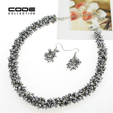 Handmade Jewelry Sets Statements Necklace And Earrings Woman Imitate Crystal Choker Vintage Collares Colar Feminino