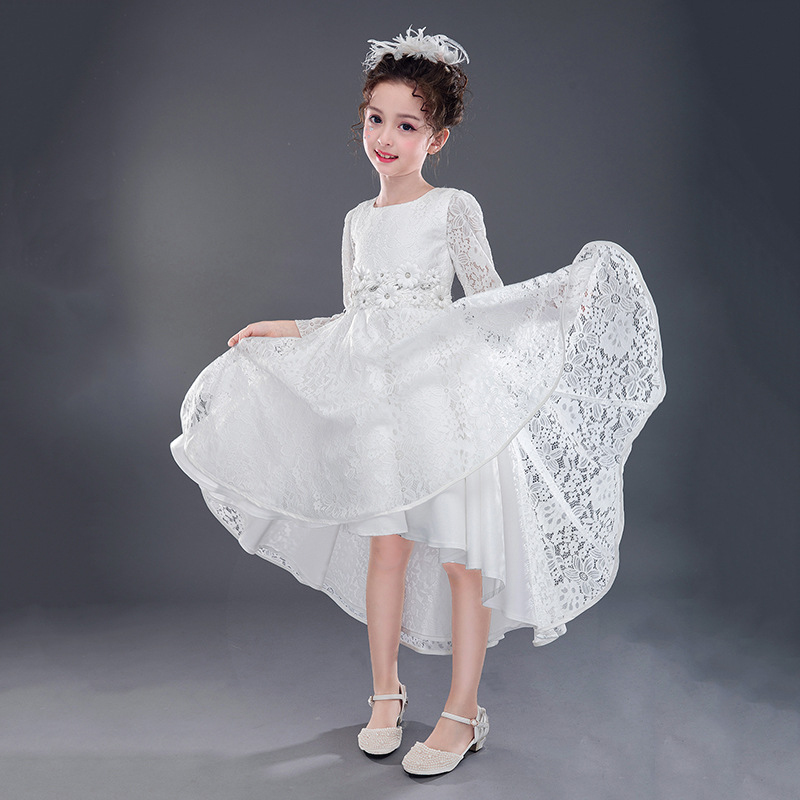 White Girls Wedding Dress 2017 Ball Gown Fall Kids Lace Dress High-grade Girl Children Party Dresses Elegant Cute Kids Clothing girls dresses 2017 summer new lace speaker sleeves children dress cute embroidered girl dress floral child ball gown party dress