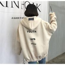 купить Autumn Winter Harajuku Hooded Sweatshirt Women Hoodies Letter Zipper Loose Hooded Sweatshirt Coat Fleece Warm Pullover Tops онлайн