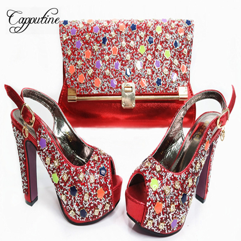 Capputine New African Rhinestone Women Gold Shoes And Bags Set Hot Selling High Heels Shoe And Bag To Match for Parties G35 good selling african women shoes and bag set fashion shoes heels 9cm italian shoes and bags to match for party as1 4