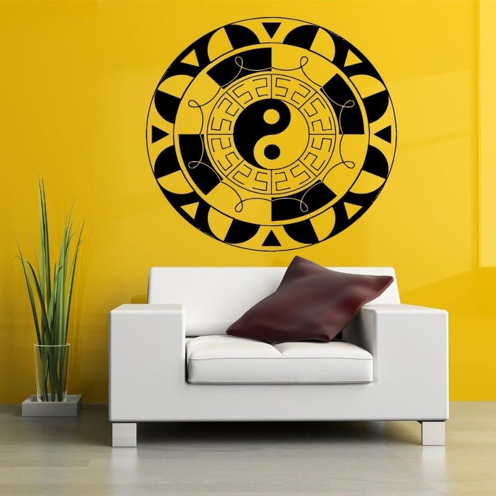 Hindu Yoga Meditasi Yinyang Mandala Ornament Wall Stiker Dinding Vinil Kualitas Bagus Decals Vinyl Mural Rumah Cw 77