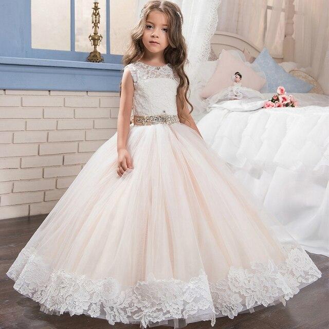 Spitze Lange Kinder Puffy Prom Pageant Kleider Für Mädchen Glitz ...