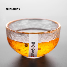 1PCS WIZAMONY Drinkware Trace design in gold Japanese Style Hammer Cup Heat Resistant Chinese Kung Fu Tea Ceremony Tea Cup Bowl